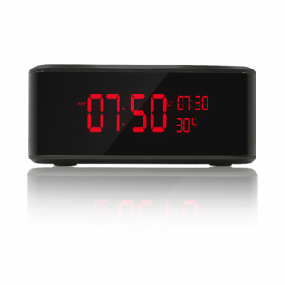 Hades 1080p HD WIFI Nanny Cam Alarm Clock Wireless Charging Station Bluetooth Speaker